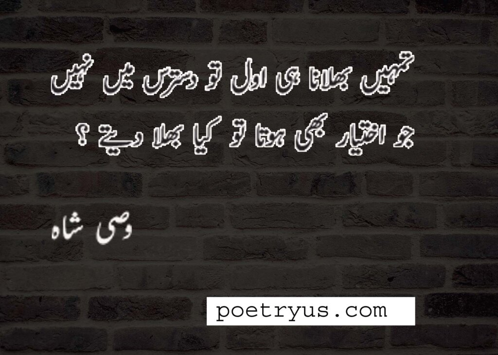 wasi shah poetry in urdu 2 line