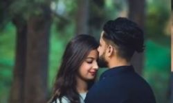 husband wife romantic couple poses for wedding photography