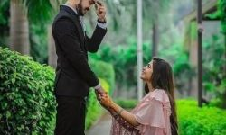 romantic couple poses for wedding photography